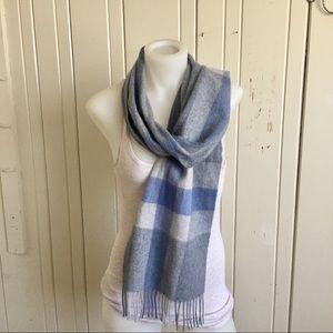 Belle France Cashmere Scarf -64x10 Blue /Gray